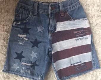 Custom Distressed Flag Shorts