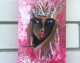 "ACRYLIC painting ""Hidden behind pink"" (40cm x 20cm canvas)"