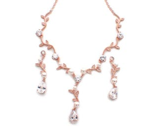 Rose gold jewelry, bridal jewelry set, crystal necklace earring set, wedding accessories, bridesmaid jewelry set, rose gold necklace set