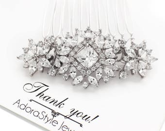 Wedding hair accessories, CZ crystal hair comb, bridal hair comb, crystal wedding hair piece, rhinestone hair comb, crystal hair clip