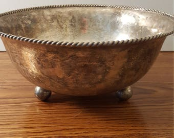 "10"" Silver Plated Bowl with Ball Feet"