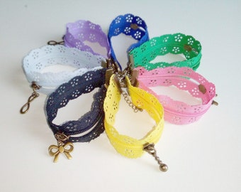 Lace zipper bracelet with charm