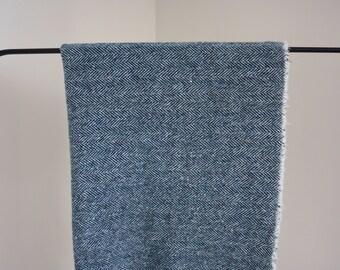 Blue Teal Tweed Wool Throw Blanket