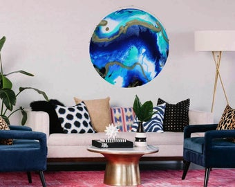 SEASCAPE 60cm resin wall art, abstract wall decor