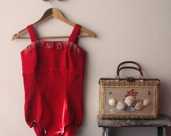 Bathing Beaut / Vintage Handmade 1950's Cherry Red One Piece Bathing Suit with Ribbon Embellishment / Women's Size M