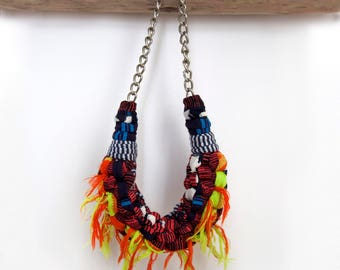 Necklace, textile, jewellery, boho, statement necklace in ethnic style