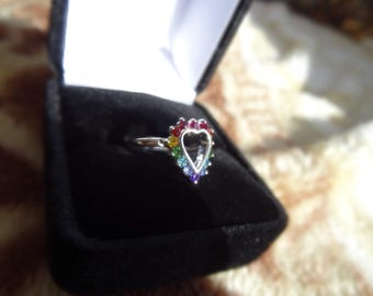 Rainbow Heart Cubic Zirconia Sterling Silver Ring