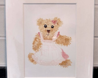 Small Original Watercolour Painting Teddy Bear Matted/Mounted