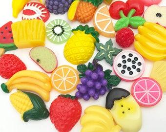 Fruit Cabochon Mix (10 pcs / 20 pcs / 30 pcs by Random) Kawaii Fake Food Deco Resin Cabochons