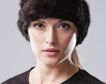 Handmade natural brown mink fur headband