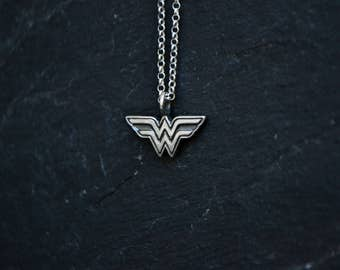 Wonder Woman Necklace, Super Hero Wonder Woman 925 Sterling Silver Jewelry, Geeky Nerdy Girl Power Comics Jewelry
