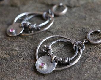 raw sterling silver earrings. pink tourmaline. dangling earrings. hoop earrings