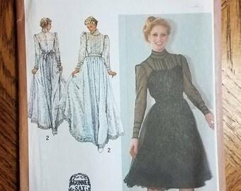 Vintage 1980's Simplicity 9585 Gunne Sax Evening Formal Dress Sewing Pattern Size 12 UNCUT