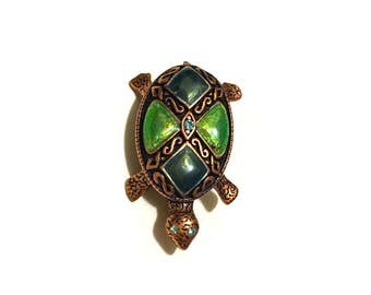 Rhinestone Vintage Turtle Brooch