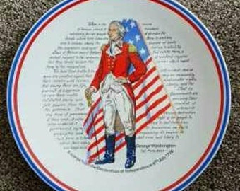 "Collector Plate - 9.5"" - ""Excerpt from the Declaration of Independence 4th July, 1776"""