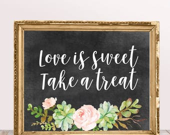 Candy Bar Sign in Chalk with Flowers,Printable Wedding Signs,Sweets Bar Sign, Printable Wedding Decor, Instant Download,Digital File