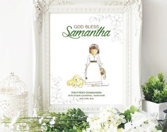 Hand painted first holy communion gift / First communion print / Religious print / Personalized gift - PV3