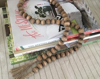 Wood Bead Garland with Tassels, Dark Walnut, Home Decor, Wood Bead Strands