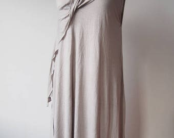 La Vacaloca linen blend grecian dress tunic asymmetric boho hippie lagenlook natural summer flax minimalist designer made in Greece