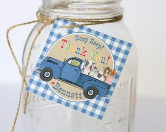 Little Blue Truck Birthday Party Favor Tags/Stickers - Little Blue Truck Birthday - Thank You Tags OR Stickers, Set of 12