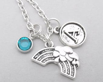 Rainbow vintage style initial necklace | rainbow necklace | rainbow pendant | personalised rainbow necklace | rainbow jewelry | birthstone