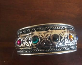 Colored Stones & Oxidized Silver Bracelet