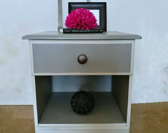 Bedside cabinet Grey White | Table | Painted Pine | Bedroom Storage | Shabby Chic | Bedroom Furniture|  Solid | Metallic handles | Drawer