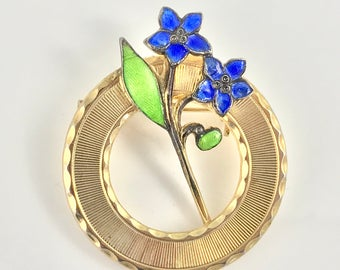 Simple Gold Circle Brooch / Pin with Enamel Forget-Me-Not Flowers - 1940s