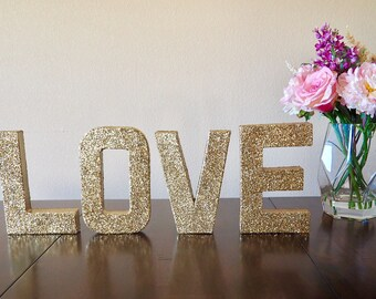 love stand up letters double sided glitter letters engagement photo prop wedding decor home decor ships in 3 5 business days