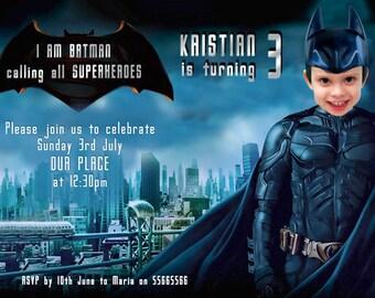 BATMAN Invitation, Birthday Batman Party, Batman versus Superman, SUPERHERO Birthday Printable Invite,Batman Invite, Superheroes Party