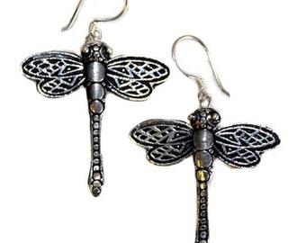 """Silver Earrings (925), Dragon Flies, Pierced hooks, 30mm (1"""") Jewelry GIFT ideas"""