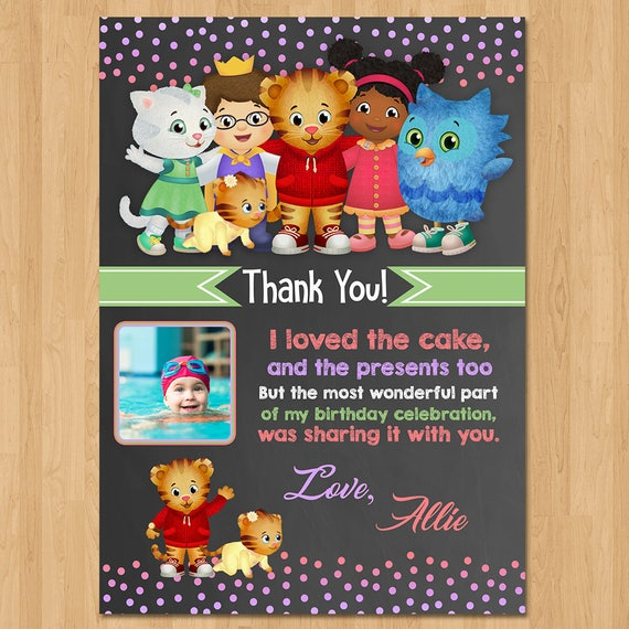 Daniel Tiger Thank You Card - Chalkboard Pink + Purple - Daniel Tiger Birthday Party - Girl Daniel Tiger Party Favor - Photo Card Thank You