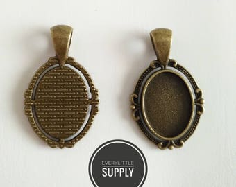 5pcs 13x18mm Necklace Pendant Setting Antique Bronze  Glass Cabochon Blank Base Supplies for Jewelry