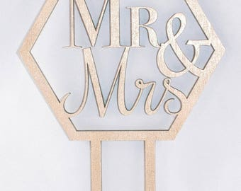 Geometric Wedding Cake Topper
