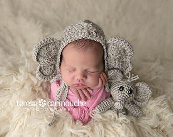 Crochet Baby Elephant Bonnet Hat Beanie Stuffie Stuffed Animal Set Infant Newborn Baby Toddler Handmade Photography Photo Prop Baby Shower