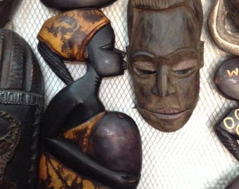 Carved wooden African woman