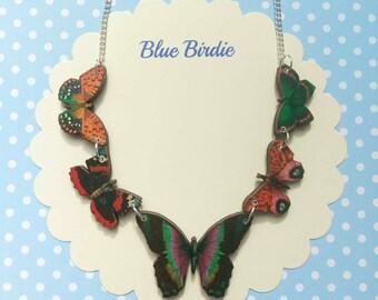 Butterfly necklace butterfly jewelry multi colour butterfly bib necklace butterfly jewellery butterfly gift butterfly necklace red tones