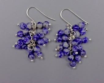 "1.5"" Sodalite Cluster Earrings"