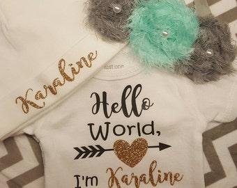 Newborn Onesie w/ Hat & Bow