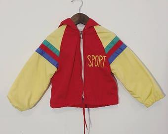 Vintage 80s Sport Toddler Zip Up Weather Tamer Jacket with Hood