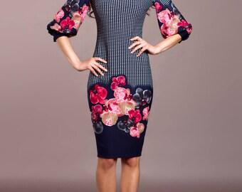 casual navy dress, puff sleeve dress, Bodycon dress, sheath dress, elegant work dress, pencil dress, midi dres, office dress