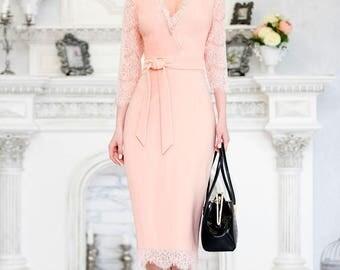 Powdery beige dress, lace summer dress with V neck,bodycon dress ,summer dress short sleeve, elegant dress, wedding dress, summer midi dress