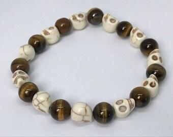 White Howlite Skull Bracelet
