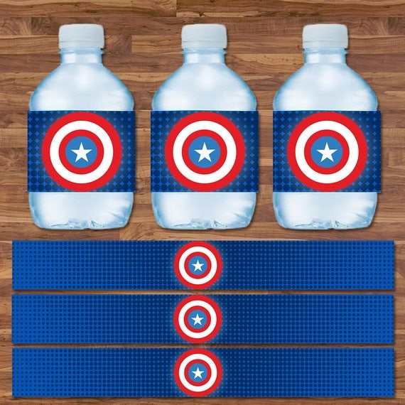 Captain America Drink Labels - Captain America Water Bottle Labels - Blue & Red Logo - Captain America Birthday Party - 9.75 x 1.25 In