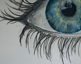 Eyes painting, watercolor acrylic decoration