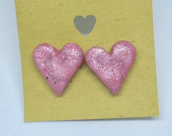 Heart Pink and Granite Polymer Clay Stud Earrings