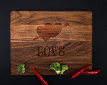 Heart Design Chopping Block  Engraved Cutting Board Bamboo Cutting Board Custom Wedding Gift Personalized Cutting Board