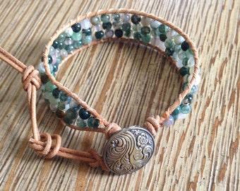 Leather wrap, beaded bracelet, beaded leather wrap bracelet