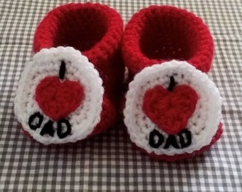 I Love Dad Booties | Baby Booties Crochet | Crochet Slipper| Handmade | Baby Shower Gift | Newborn Clothes | Woodland Baby | Fathers Day