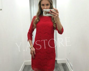 Red Evening Dress Bohemian Red Lace Dress Party Woman Dress